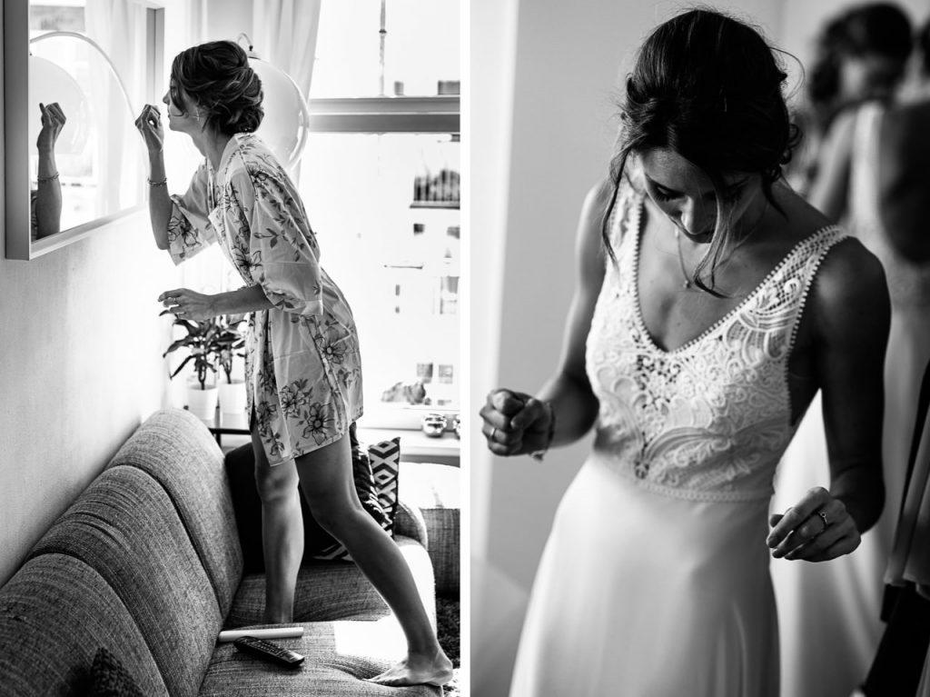 Ontspannen voorbereidingen bruid
